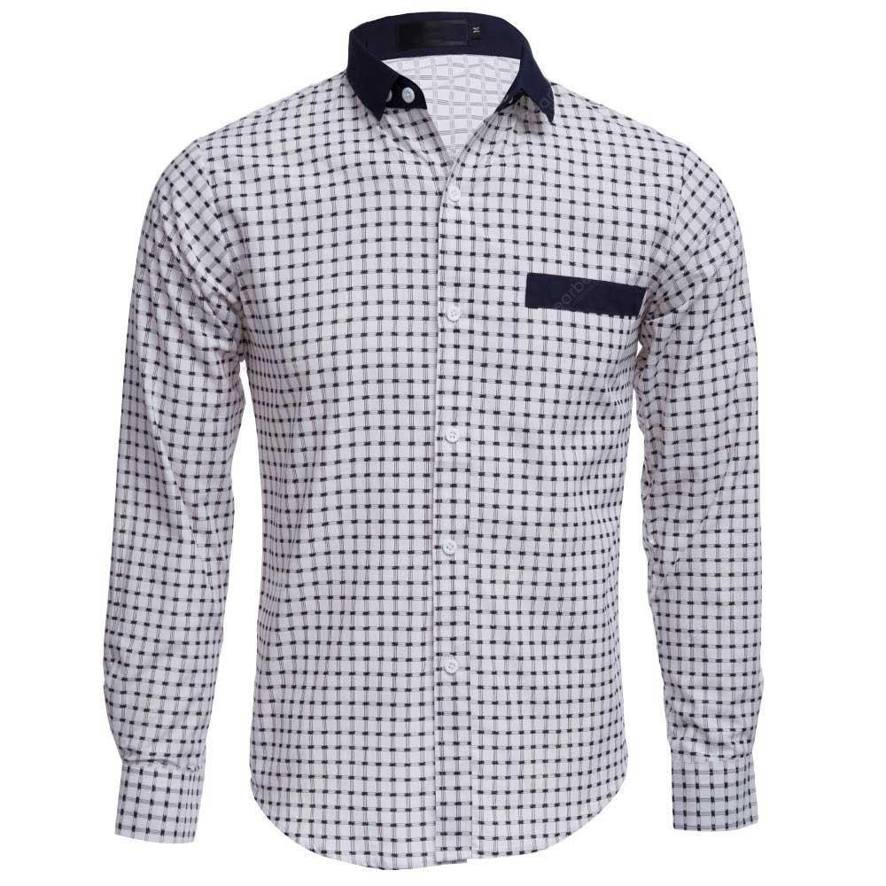 WHITE Slim Fit Lattice Turn Down Collar Long Sleeve for Male