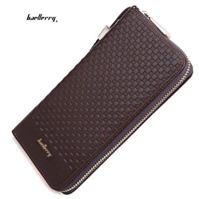 Baellerry Weave Plaid Letter Zipper Clutch Portable Wallet