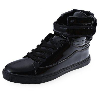 Pure Color Patent Leather Magic Tape Male Dunk High Shoes