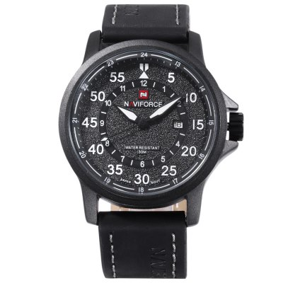 Naviforce 9076 Men Quartz WatchMens Watches<br>Naviforce 9076 Men Quartz Watch<br><br>Band Length: 8.46 inch<br>Band Material Type: Leather<br>Band Width: 24mm<br>Case material: Alloy<br>Case Shape: Round<br>Clasp type: Pin Buckle<br>Dial Diameter: 1.81 inch<br>Dial Display: Analog<br>Dial Window Material Type: Mineral Glass Mirror<br>Feature: Date<br>Gender: Men<br>Movement: Quartz<br>Package Contents: 1 x Naviforce 9076 Men Quartz Watch<br>Package Size(L x W x H): 15.50 x 8.00 x 4.50 cm / 6.1 x 3.15 x 1.77 inches<br>Package weight: 0.105 kg<br>Product Size(L x W x H): 27.00 x 5.00 x 1.50 cm / 10.63 x 1.97 x 0.59 inches<br>Product weight: 0.083 kg<br>Style: Simple<br>Water Resistance Depth: 30m