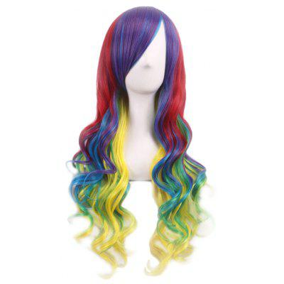 Buy RED + PURPLE + BLUE + GREENYELLOW Lady Harajuku Ombre Gradient Multicolor Wavy Long Full Wigs for $11.29 in GearBest store