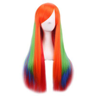 Buy ORANGE + RED + GREEN + BLUE Lady Harajuku Ombre Gradient Multicolor Wavy Long Full Wigs for $11.29 in GearBest store