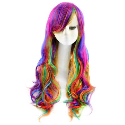 Buy COLORFUL Lady Harajuku Ombre Gradient Multicolor Wavy Long Full Wigs for $11.29 in GearBest store