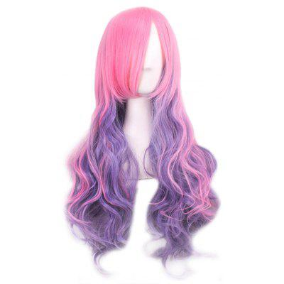 Buy PINK AND PURPLE Lady Harajuku Ombre Gradient Multicolor Wavy Long Full Wigs for $11.29 in GearBest store