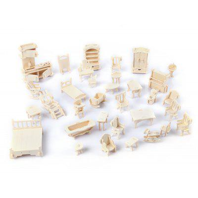 SEALAND G - P077 Creative Wooden DIY 3D Simulation Deluxe Furniture Construction Kit