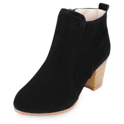 Side Zipper Pure Color Scrub Martin Botas
