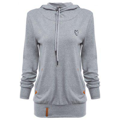 Buy Chic Hooded Long Sleeve Pocket Design Embroidered Ladies Hoodie LIGHT GRAY M for $13.31 in GearBest store