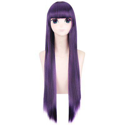 80CM Boku SS Attractive Purple Long Straight Full Bangs Wigs