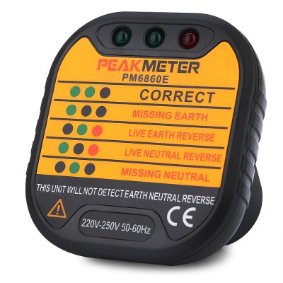 PEAKMETER PM6860E UK Plug 220V - 250V Socket Tester