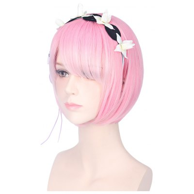 35CM Ram Rem Cosplay Wigs Short Bob Hair with Adornment