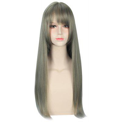Harajuku Mixed Flax Green Color Long Straight Wigs