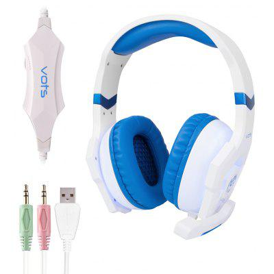 Vots Adjustable Headset 3pcs 3.5MM USB Plug Gaming Headphones