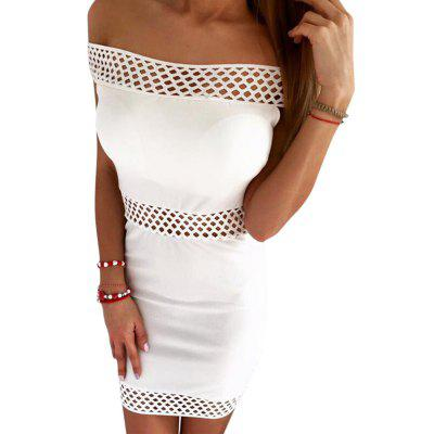 Off The Shoulder Hollow Out Bodycon Women Mini Dress
