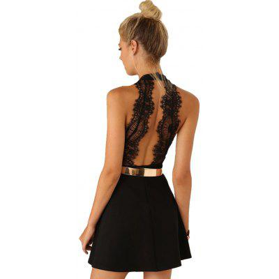 Elegant Jewel Collar Sleeveless Backless Lacework A-Line Women Black Dress