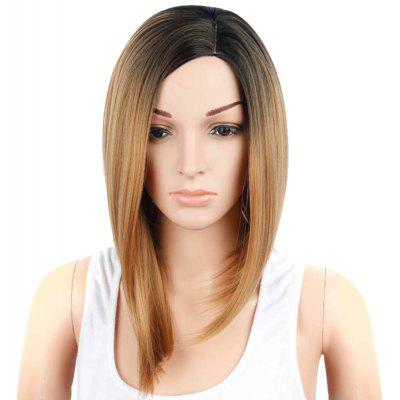 Medium Gradient Mixed Color Straight Side Parting Wigs