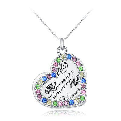 Love Heart Faux Diamond Letter Platinum Plated Necklace