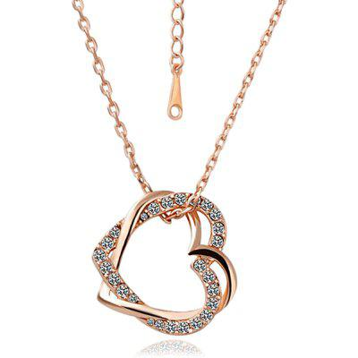 Buy ROSE GOLD Cross Hollow Heart Czech Stone Rose Gold Plated Necklace for $6.29 in GearBest store