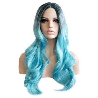 Women Harajuku Long Gradient Mixed Color Wavy Blue Wigs
