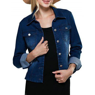 Women Turn Down Collar Pure Color Women Denim Coat