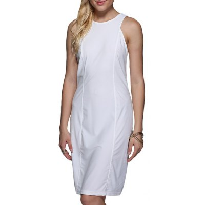 Women Brief Round Collar Pure Color Sundress
