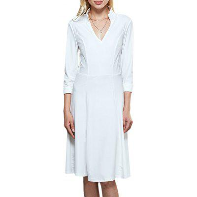 Women Brief Stand Collar 3/4 Sleeve White Dress
