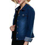 Women Turn Down Collar Pure Color Women Denim Coat deal