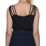 Women Sexy Square Neck Cut Out Solid Color Tank Top - BLACK