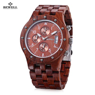 BEWELL ZS - W109D Men Wooden Quartz Watch