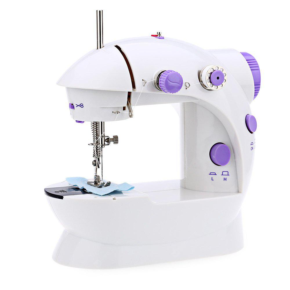WHITE Mini Double Speed Automatic Thread Sewing Machine with Light