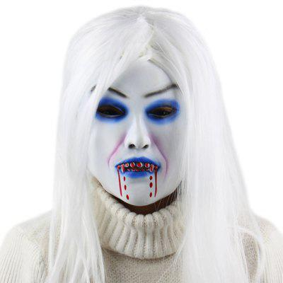Horror White Witch Latex Mask Masquerade Halloween Party Bar Supply