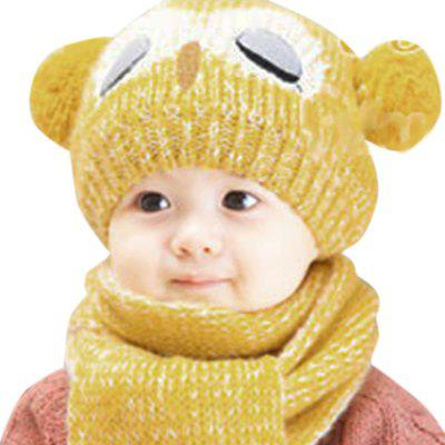 Children Owl Pom-pom Hat with Scarf