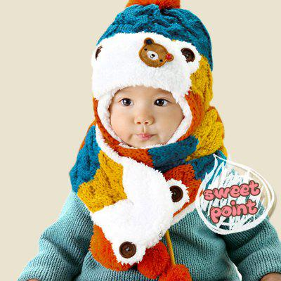 Children Patchwork Bear Pom-Pom with ScarfBoys Clothing Accessories<br>Children Patchwork Bear Pom-Pom with Scarf<br><br>Gender: Unisex<br>Hat Height?cm ): 23<br>Hat Width?cm ): 23<br>Item Type: Baby Hat<br>Material: Acetate / Acrylic<br>Package Contents: 1 x Hat, 1 x Scarf<br>Package size (L x W x H): 28.00 x 24.00 x 5.00 cm / 11.02 x 9.45 x 1.97 inches<br>Package weight: 0.208 kg<br>Pattern: Animal<br>Product size (L x W x H): 27.00 x 23.00 x 4.00 cm / 10.63 x 9.06 x 1.57 inches<br>Product weight: 0.197 kg<br>Scarf Size ( cm ): 90<br>Season: Winter<br>Strap Type: Fitted