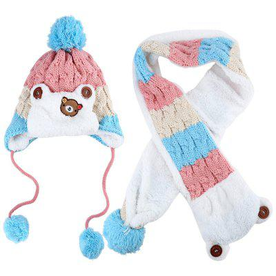 Children Patchwork Bear Pom-Pom with Scarf