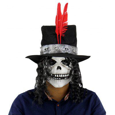 Horror Ghost Latex Mask Long Wig Count Skull