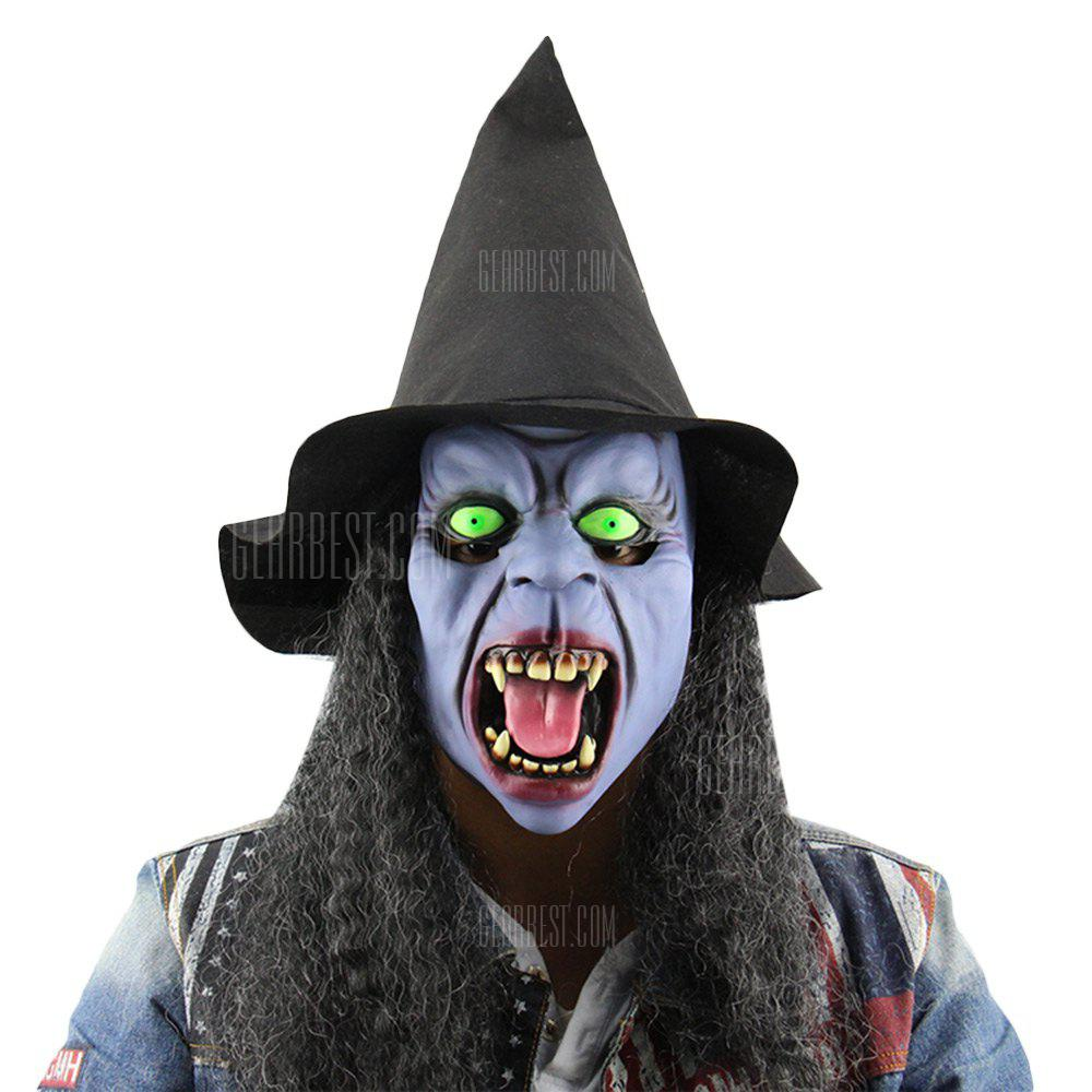 Horror Night Witch Tusks Latex Mask with Hat Wig