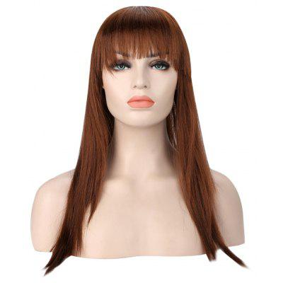 Girl Long Straight Brown Wigs with Bangs