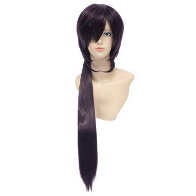 Natural Straight Side Bangs Purple Wigs with Ponytail