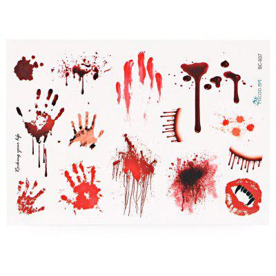 Waterproof Temporary Bloody Tattoo Stickers Horror for Halloween Makeup Body Art