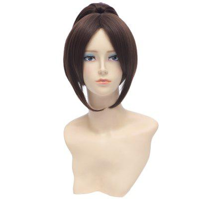 Natural Straight Central Parting Brown Wigs with Ponytail