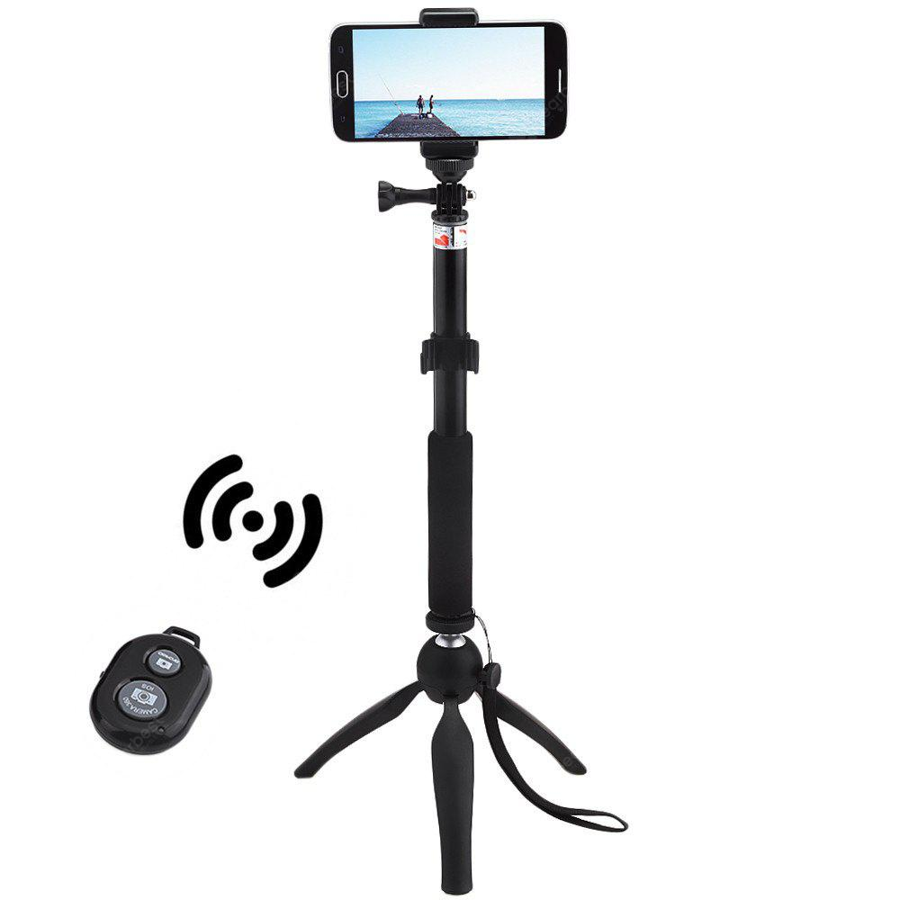 Mini Tripod Mount Selfie Stick Bluetooth Shutter Holder - BLACK
