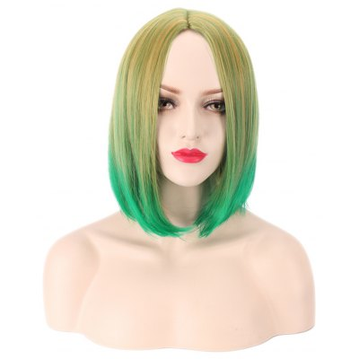 Harajuku Bob Straight Gradient Mixed Colors Yellow Green Wigs