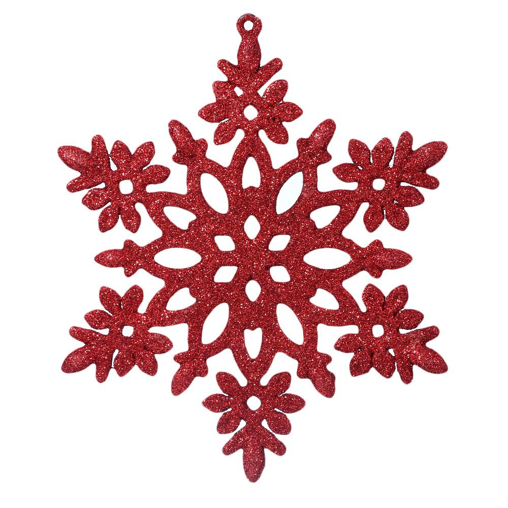RED Christmas Snowflake Decorating Ornaments