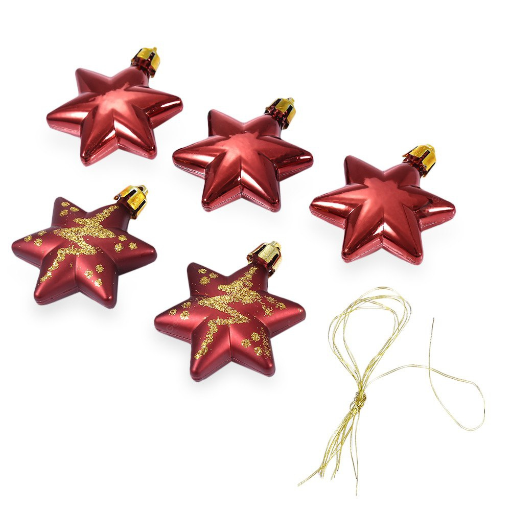 RED 5pcs Christmas Decorating Five-pointed Star Ornaments
