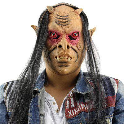 Horror Funny Red Eyes Devil Latex Mask with Wig