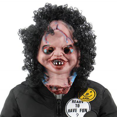 Horror Funny Decapitated Doll Latex Mask with Wig