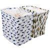 Cotton Linen Square Folding Storage Basket - BLUE AND WHITE