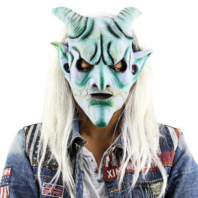 Scary Funny Silver Horn King Ghost Mask with Long Wig