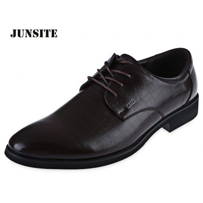 Men Luxurious Texture Pointed Toe Lace Up Leather Shoes Business Dress Oxfords Flats