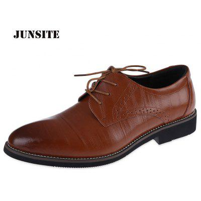 Junsite Casual Brogues Pointed Toe Lace Up Shoes de couro