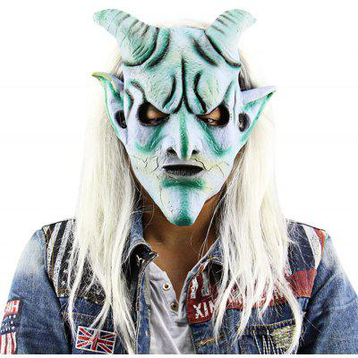 Buy WHITE Scary Funny Silver Horn King Ghost Mask with Long Wig for $16.29 in GearBest store